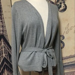 J.Crew L Open Front  Bell Sleeves Belted Cardigan